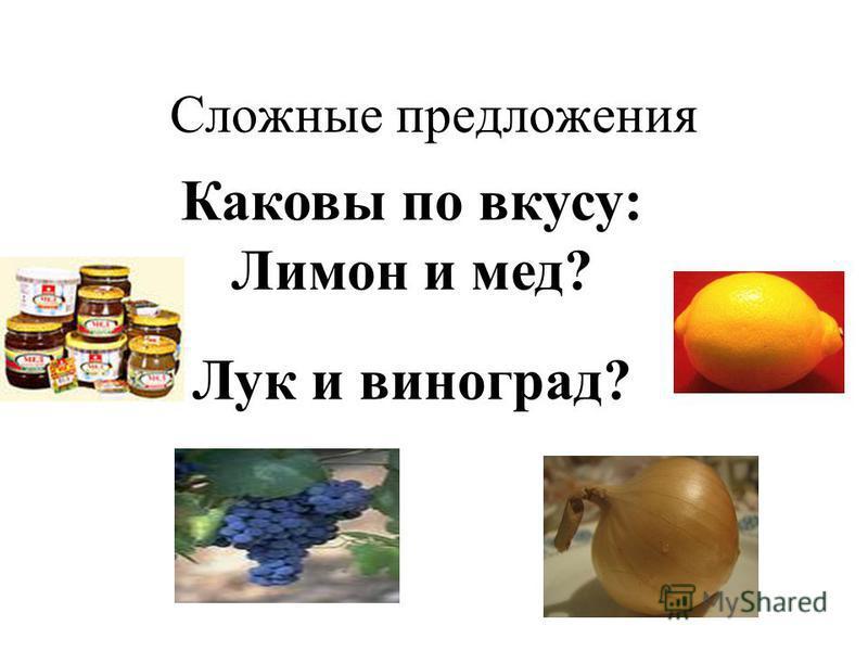 Сложные предложения Каковы по вкусу: Лимон и мед? Лук и виноград?