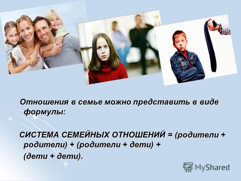 Отношения в семье можно представить в виде формулы: Отношения в семье можно представить в виде формулы: СИСТЕМА СЕМЕЙНЫХ ОТНОШЕНИЙ = (родители + родители) + (родители + дети) + СИСТЕМА СЕМЕЙНЫХ ОТНОШЕНИЙ = (родители + родители) + (родители + дети) +