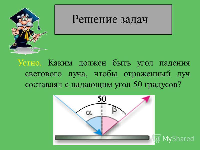 Решение задач Устно. Каким должен быть угол падения светового луча, чтобы отраженный луч составлял с падающим угол 50 градусов?