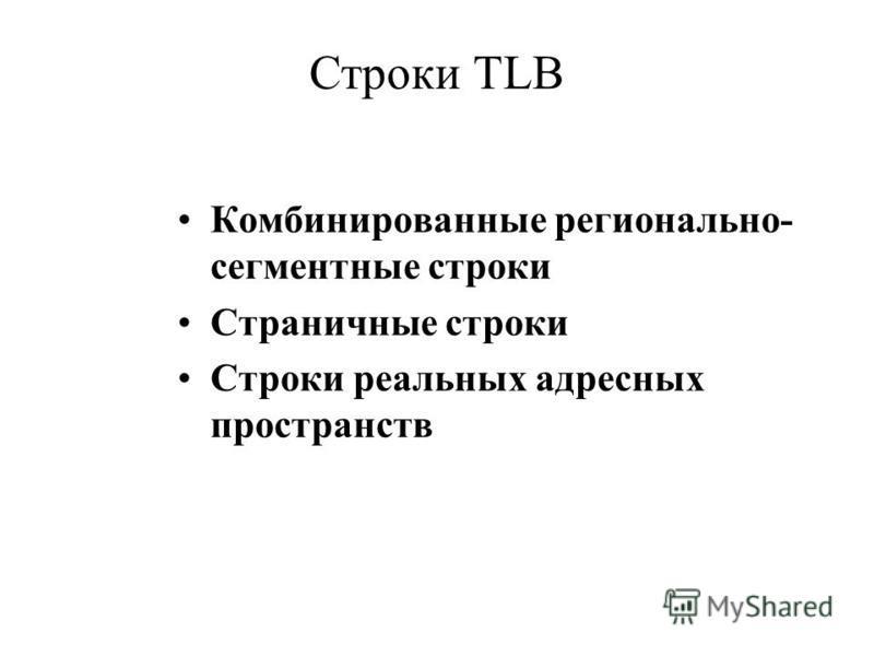 Строки TLB Комбинированные регионально- сегментные строки Страничные строки Строки реальных адресных пространств
