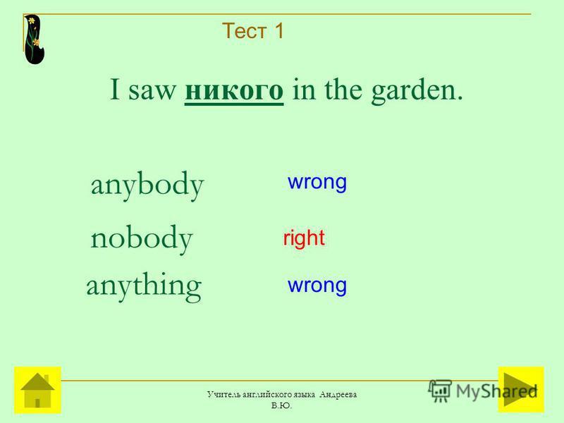 Учитель английского языка Андреева В.Ю. I saw никого in the garden. anybody anything nobody right wrong Тест 1