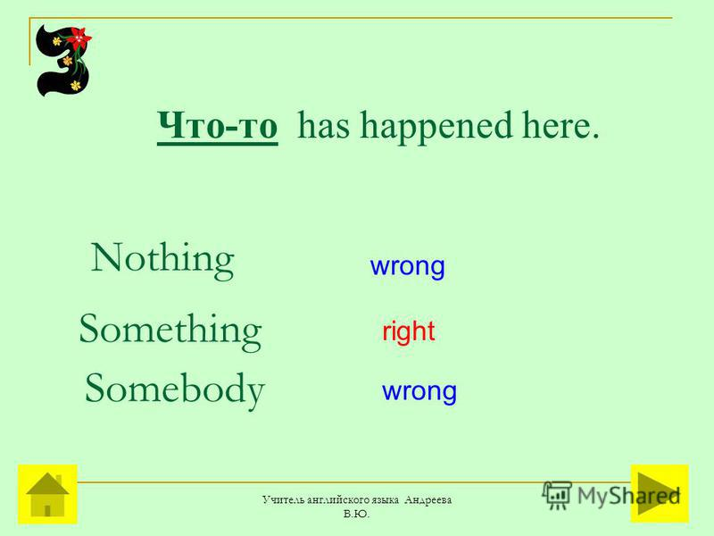 Учитель английского языка Андреева В.Ю. Что-то has happened here. Somebody Something Nothing right wrong