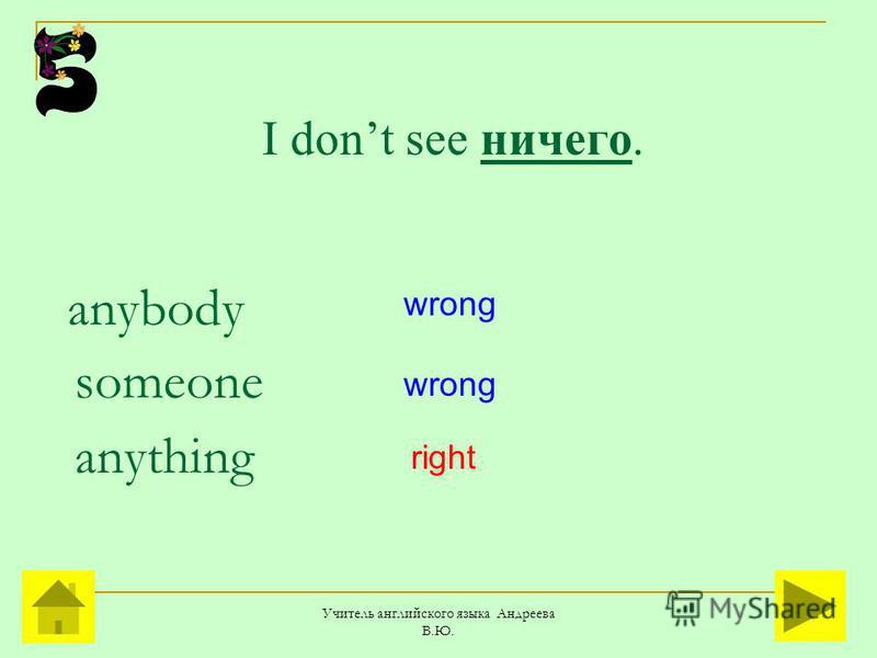 Учитель английского языка Андреева В.Ю. I dont see ничего. anybody someone anything wrong right
