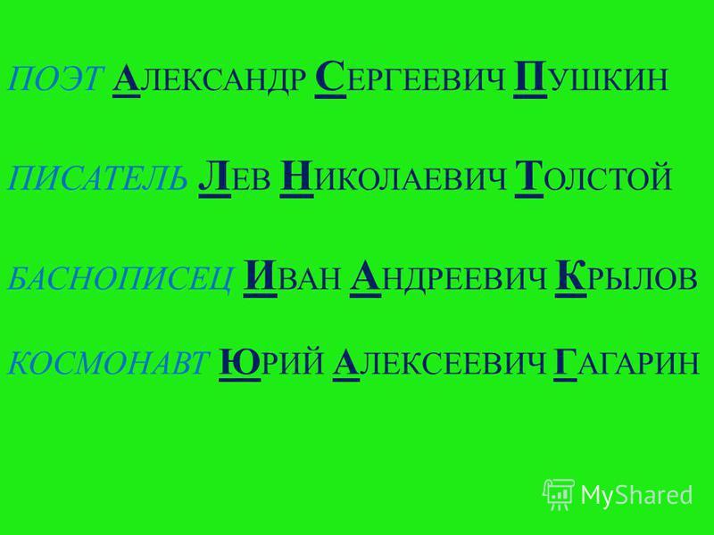 ПОЭТ А ЛЕКСАНДР С ЕРГЕЕВИЧ П УШКИН ПИСАТЕЛЬ Л ЕВ Н ИКОЛАЕВИЧ Т ОЛСТОЙ БАСНОПИСЕЦ И ВАН А НДРЕЕВИЧ К РЫЛОВ КОСМОНАВТ Ю РИЙ А ЛЕКСЕЕВИЧ Г АГАРИН