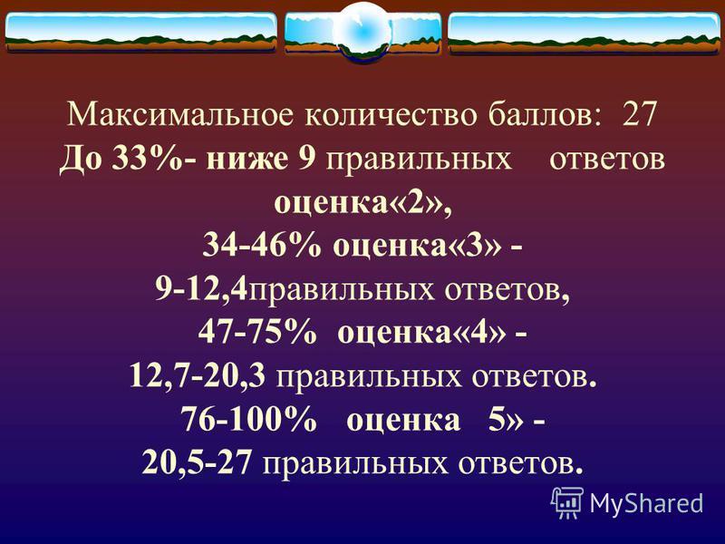 Максимальное количество баллов: 27 До 33%- ниже 9 правильных ответов оценка«2», 34-46% оценка«3» - 9-12,4 правильных ответов, 47-75% оценка«4» - 12,7-20,3 правильных ответов. 76-100% оценка 5» - 20,5-27 правильных ответов.