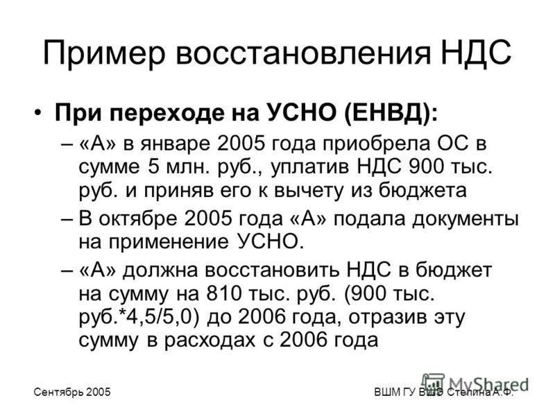 Сентябрь 2005ВШМ ГУ ВШЭ Степина А.Ф. Пример восстановления НДС При переходе на УСНО (ЕНВД): –«А» в январе 2005 года приобрела ОС в сумме 5 млн. руб., уплатив НДС 900 тыс. руб. и приняв его к вычету из бюджета –В октябре 2005 года «А» подала документы