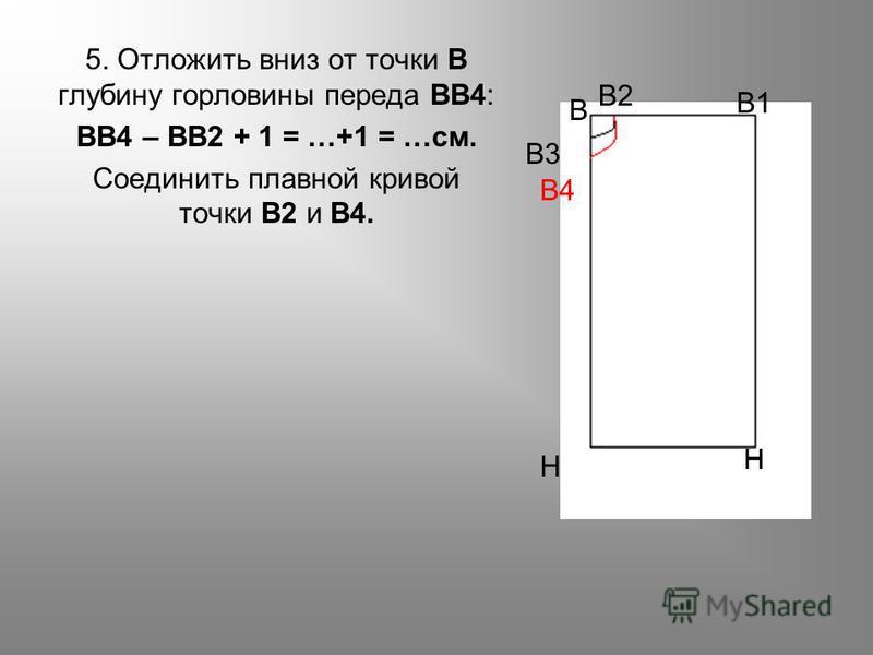 5. Отложить вниз от точки В глубину горловины переда ВВ4: ВВ4 – ВВ2 + 1 = …+1 = …см. Соединить плавной кривой точки В2 и В4. Н Н В4 В3 В В2 В1