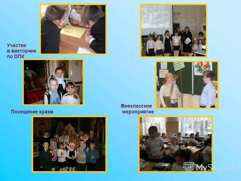 Участие в викторине по ОПК Внеклассное мероприятие Посещение храма