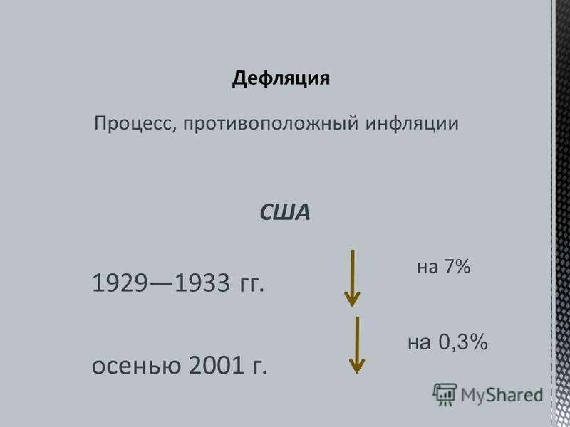 США 19291933 гг. осенью 2001 г. Процесс, противоположный инфляции на 7% на 0,3%