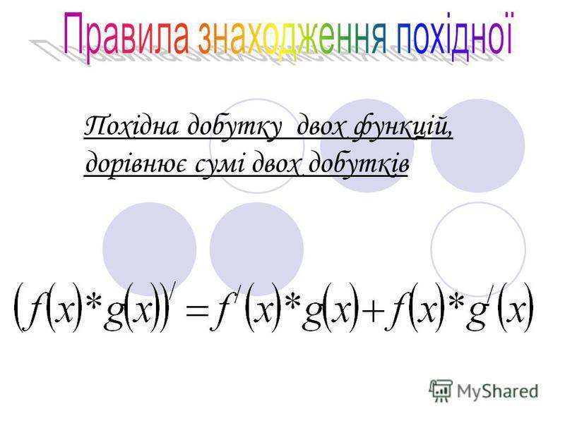 Похідна добутку двох функцій, дорівнює сумі двох добутків