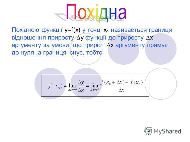 Похідною функції у=f(х) у точці х 0 називається границя відношення приросту у функції до приросту х аргументу за умови, що приріст х аргументу прямує до нуля,а границя існує, тобто