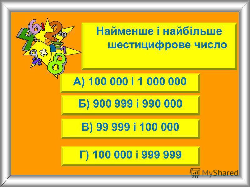 Найменше і найбільше шестицифрове число А) 100 000 і 1 000 000 Б) 900 999 і 990 000 В) 99 999 і 100 000 Г) 100 000 і 999 999