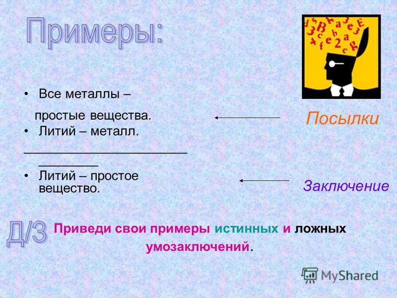Все металлы – простые вещества. Литий – металл. ______________________ ________ Литий – простое вещество. Посылки Заключение Приведи свои примеры истинных и ложных умозаключений.