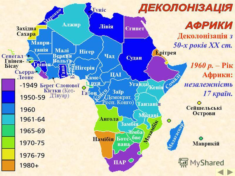 Колоніальний розподіл Африки, 1904 р. На початку ХХ ст. – 2 незалежні держави: Ефіопія, Ліберія Ліберія Ефіопія (Фр.) (Брит.) (Фр.) (Ісп.) (Порт.)