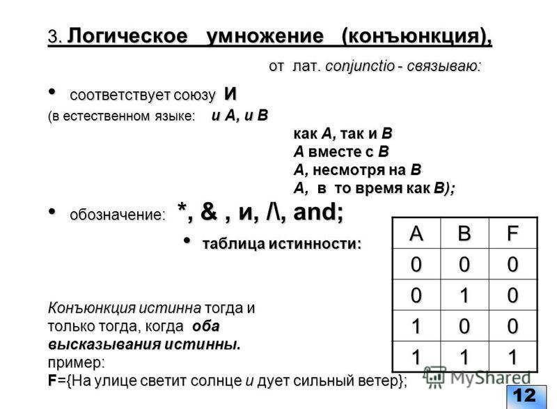 3. Логическое умножение (конъюнкция), от лат. conjunctio - связываю: соответствует союзу И (в естественном языке: и А, и В как А, так и В А вместе с В А, несмотря на В А, в то время как В); обозначение: *, &, и, /\, and; таблица истинности: Конъюнкци
