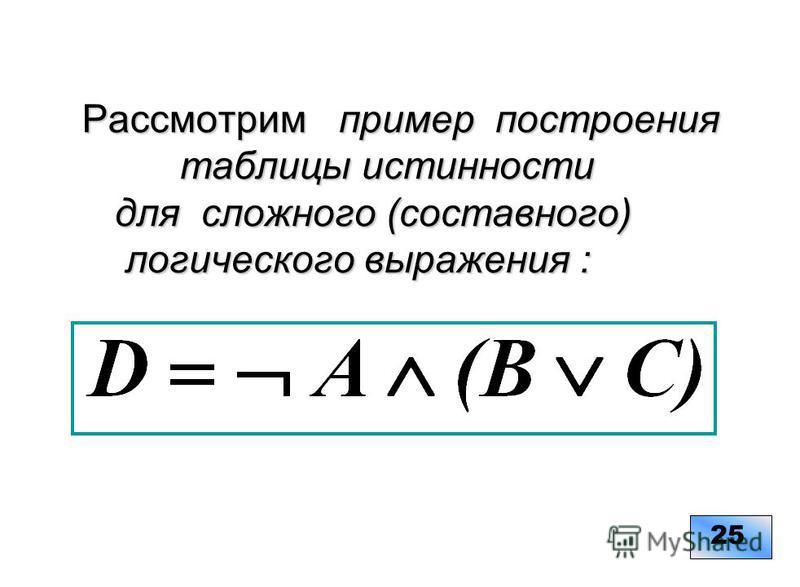 Рассмотрим пример построения таблицы истинности для сложного (составного) логического выражения : Рассмотрим пример построения таблицы истинности для сложного (составного) логического выражения : 25