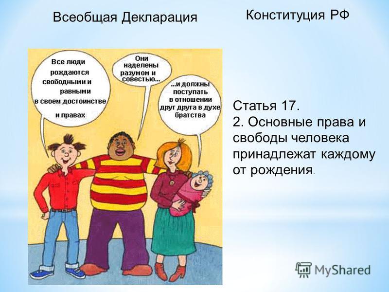 Статья 17. 2. Основные права и свободы человека принадлежат каждому от рождения. Конституция РФ Всеобщая Декларация