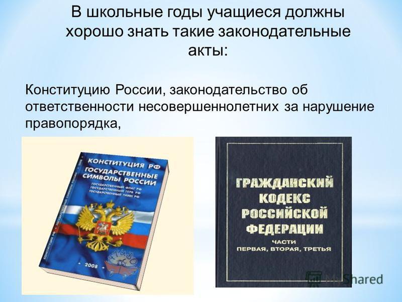 В школьные годы учащиеся должны хорошо знать такие законодательные акты: Конституцию России, законодательство об ответственности несовершеннолетних за нарушение правопорядка,