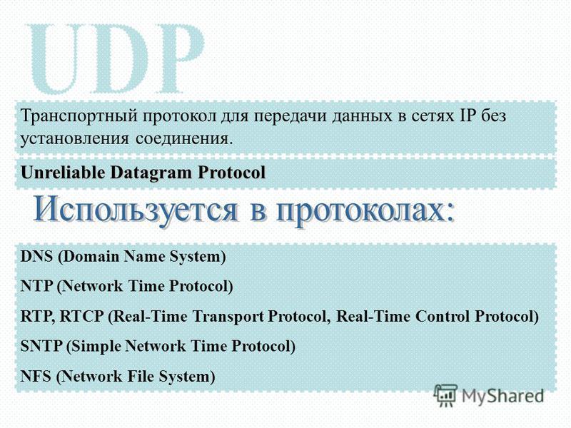Транспортный протокол для передачи данных в сетях IP без установления соединения. Unreliable Datagram Protocol DNS (Domain Name System) NTP (Network Time Protocol) RTP, RTCP (Real-Time Transport Protocol, Real-Time Control Protocol) SNTP (Simple Netw