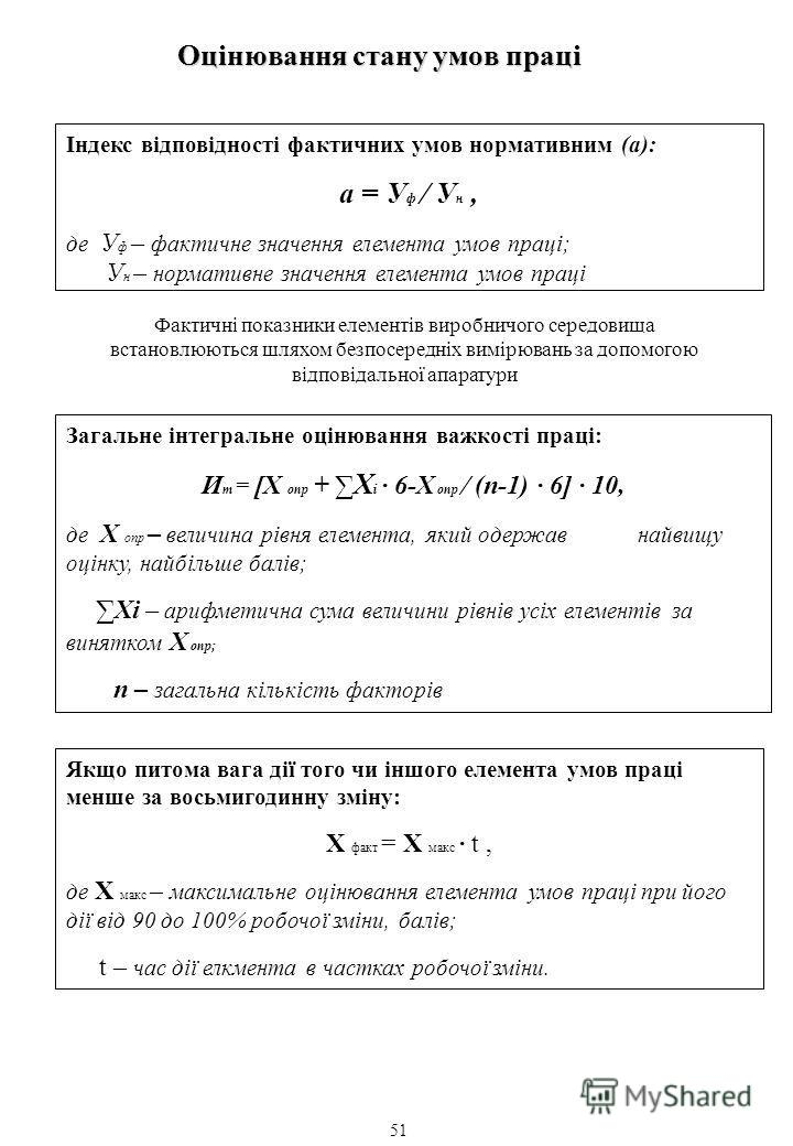 Оцінювання стану умов праці Індекс відповідності фактичних умов нормативним (а): а = У ф У н, де У ф – фактичне значення елемента умов праці; У н – нормативне значення елемента умов праці Фактичні показники елементів виробничого середовища встановлюю
