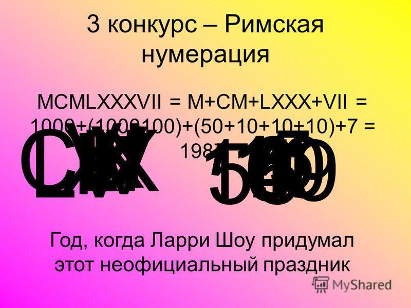 3 конкурс – Римская нумерация V 5 X 10 I 1 IV 4 VI 6 XI 11 CIX 109 LV 55 МСMLXXXVII = M+CM+LXXX+VII = 1000+(1000100)+(50+10+10+10)+7 = 1987 Год, когда Ларри Шоу придумал этот неофициальный праздник