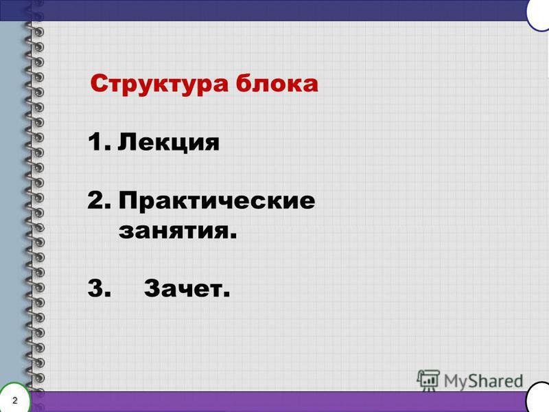 2 1. Лекция 2. Практические занятия. 3. Зачет. Структура блока