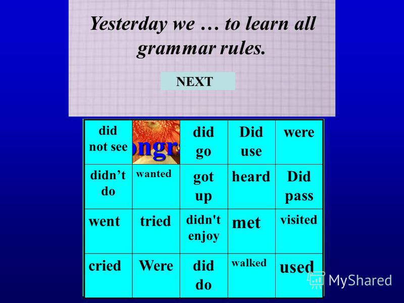 Congratulations! Now you know all grammar rules! Yesterday we … to learn all grammar rules. used walked did do Werecried visited met didn't enjoy tried went Did pass heardgot up wanted didnt do wereDid use did go did not see NEXT
