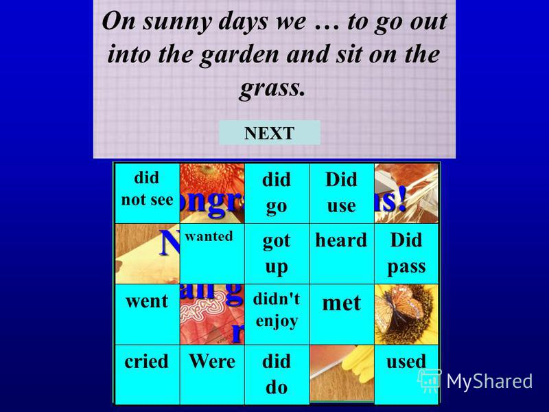 Congratulations! Now you know all grammar rules! On sunny days we … to go out into the garden and sit on the grass. useddid do Werecried met didn't enjoy went Did pass heardgot up wanted Did use did go did not see NEXT