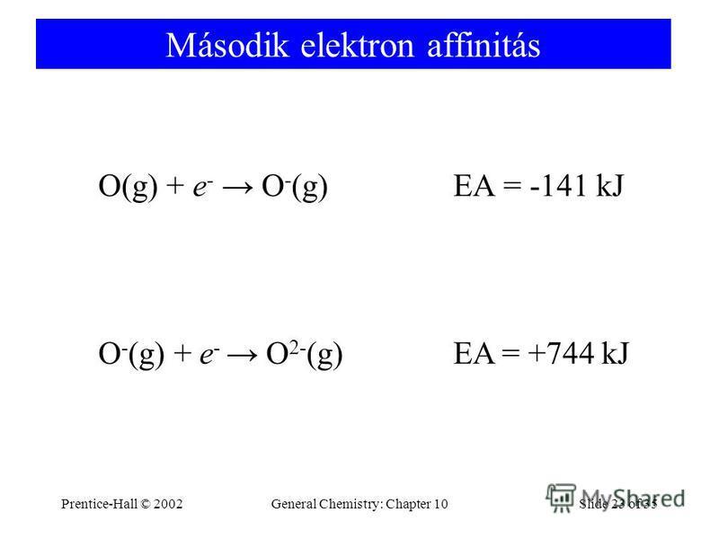 Prentice-Hall © 2002General Chemistry: Chapter 10Slide 23 of 35 Második elektron affinitás O(g) + e - O - (g) EA = -141 kJ O - (g) + e - O 2- (g) EA = +744 kJ