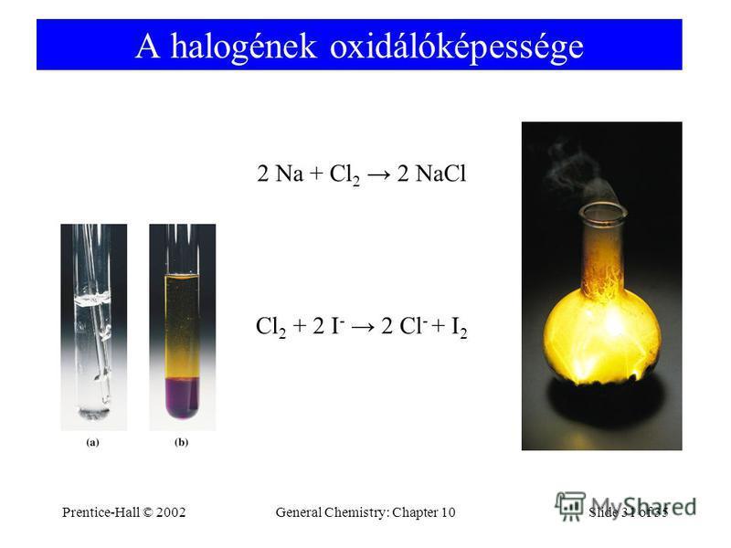 Prentice-Hall © 2002General Chemistry: Chapter 10Slide 31 of 35 A halogének oxidálóképessége 2 Na + Cl 2 2 NaCl Cl 2 + 2 I - 2 Cl - + I 2