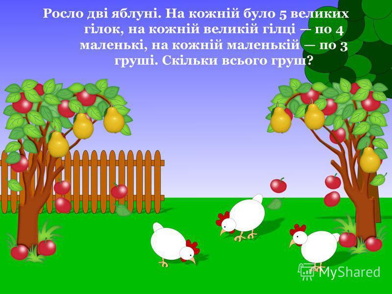 Росло дві яблуні. На кожній було 5 великих гілок, на кожній великій гілці по 4 маленькі, на кожній маленькій по 3 груші. Скільки всього груш?