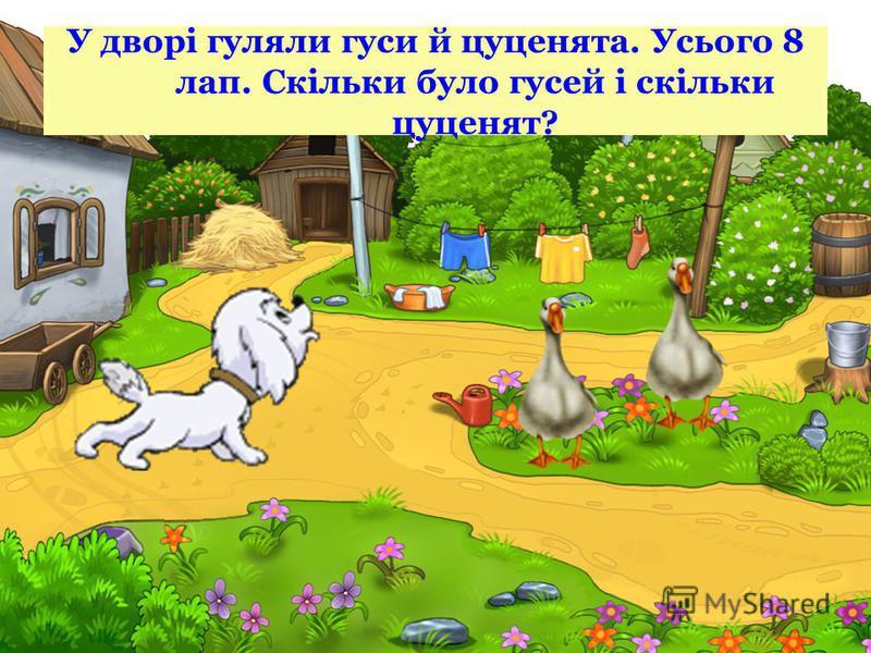 У дворі гуляли гуси й цуценята. Усього 8 лап. Скільки було гусей і скільки цуценят?