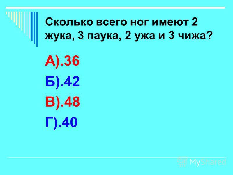Сколько всего ног имеют 2 жука, 3 паука, 2 ужа и 3 чижа? А).36 Б).42 В).48 Г).40