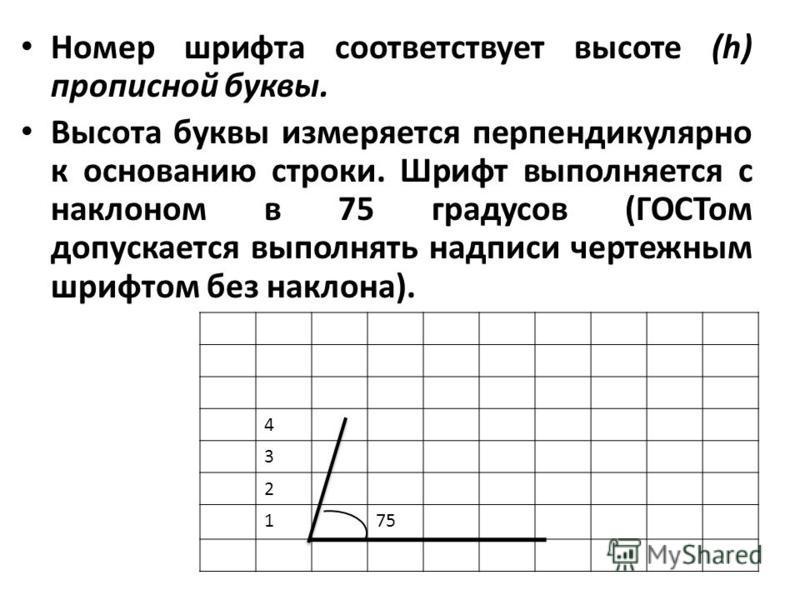 Номер шрифта соответствует высоте (h) прописной буквы. Высота буквы измеряется перпендикулярно к основанию строки. Шрифт выполняется с наклоном в 75 градусов (ГОСТом допускается выполнять надписи чертежным шрифтом без наклона). 4 3 2 175