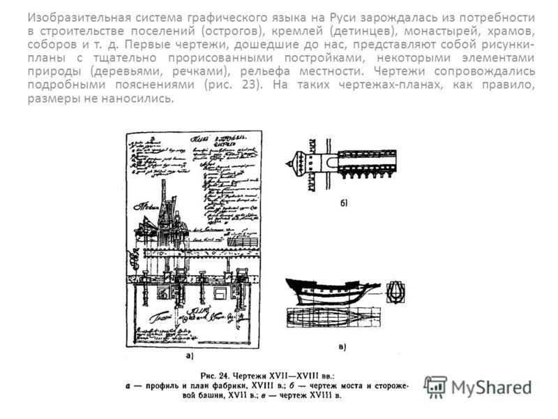 Изобразительная система графического языка на Руси зарождалась из потребности в строительстве поселений (острогов), кремлей (детинцев), монастырей, храмов, соборов и т. д. Первые чертежи, дошедшие до нас, представляют собой рисунки- планы с тщательн