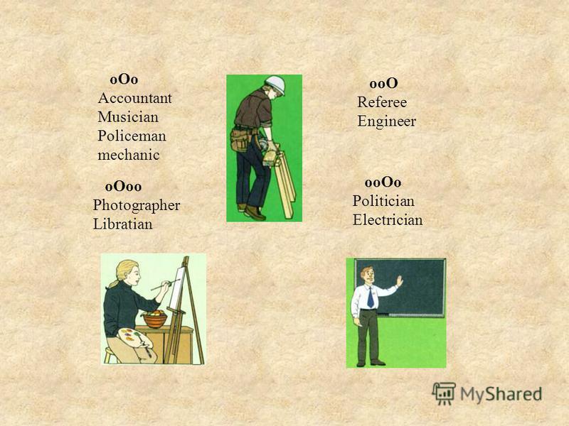 oOo Accountant Musician Policeman mechanic ooO Referee Engineer oOoo Photographer Libratian ooOo Politician Electrician