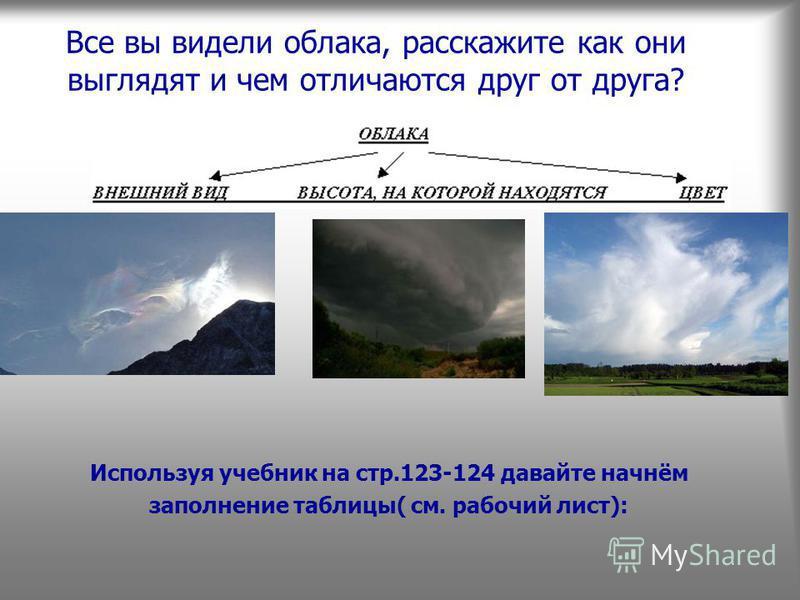 Все вы видели облака, расскажите как они выглядят и чем отличаются друг от друга? Используя учебник на стр.123-124 давайте начнём заполнение таблицы( см. рабочий лист):