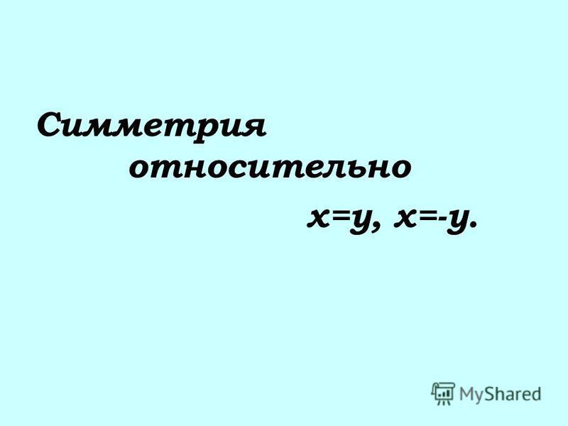 Симметрия относительно х=у, х=-у.