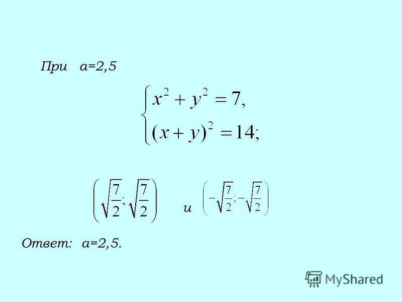 При а=2,5 и Ответ: а=2,5.