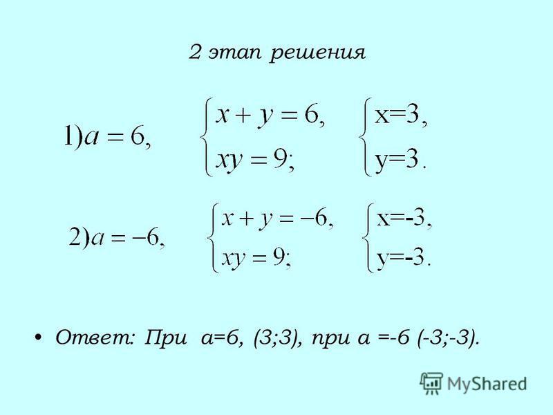 2 этап решения Ответ: При а=6, (3;3), при а =-6 (-3;-3).