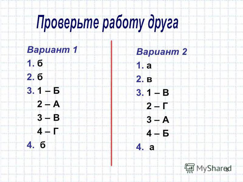 Вариант 1 1. б 2. б 3. 1 – Б 2 – А 3 – В 4 – Г 4. б 8 Вариант 2 1. а 2. в 3. 1 – В 2 – Г 3 – А 4 – Б 4. а