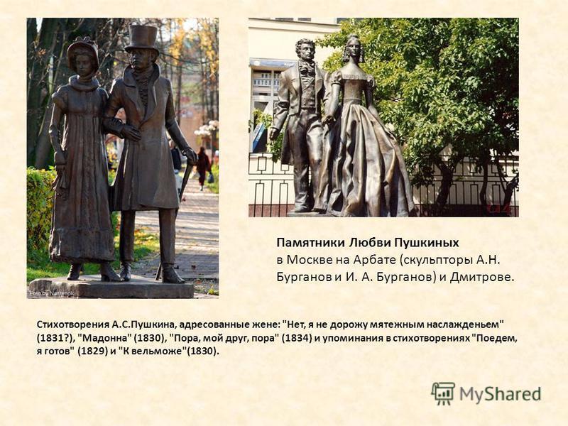 Стихотворения А.С.Пушкина, адресованные жене: