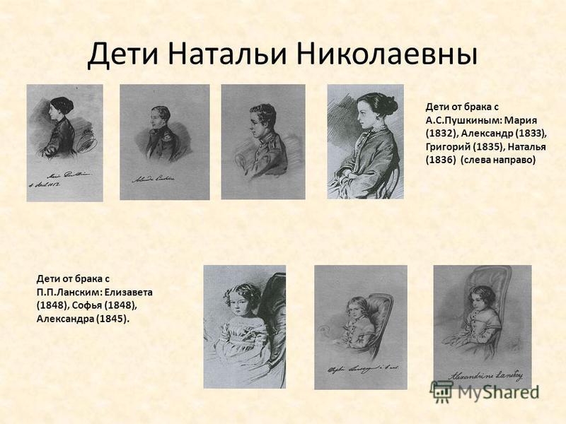 Дети Натальи Николаевны Дети от брака с А.С.Пушкиным: Мария (1832), Александр (1833), Григорий (1835), Наталья (1836) (слева направо) Дети от брака с П.П.Ланским: Елизавета (1848), Софья (1848), Александра (1845).