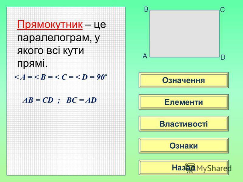 Означення Властивості Ознаки Елементи Назад A B C D Прямокутник – це паралелограм, у якого всі кути прямі. < A = < B = < C = < D = 90 ° AB = CD ; BC = AD