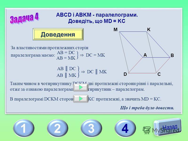 1234 ABCD і ABKM - паралелограми. Доведіть, що MD = KC A B C D KM Доведення Таким чином в чотирикутнику DCKM дві протилежні сторони рівні і паралельні, отже за ознакою паралелограма цей чотирикутник – паралелограм. В паралелограмі DCKM сторони MD і K