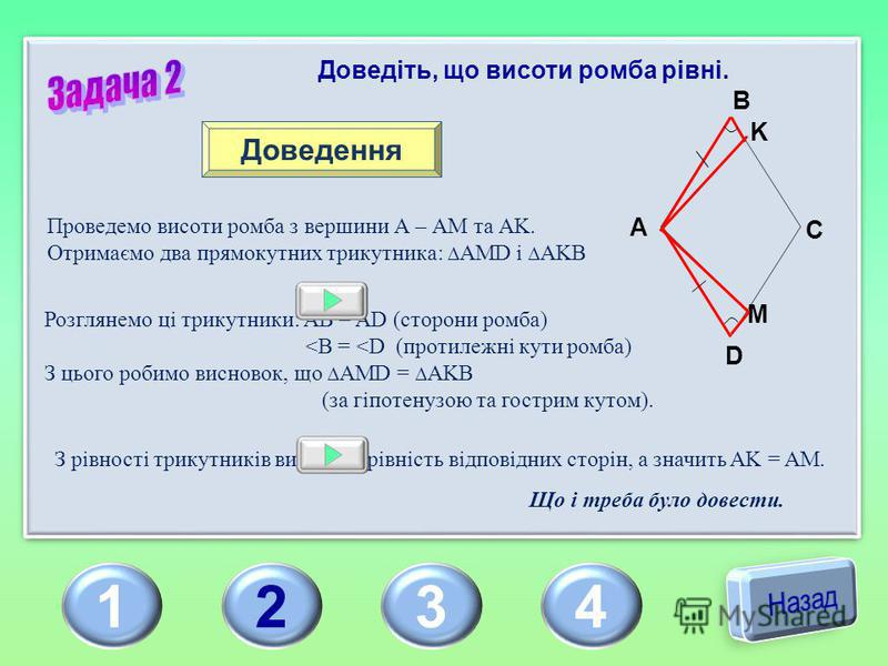 1234 Доведіть, що висоти ромба рівні. Доведення Проведемо висоти ромба з вершини А – АМ та АK.АK. Отримаємо два прямокутних трикутника: AMD і AKB Розглянемо ці трикутники: AB = AD (сторони ромба) <B = <D (протилежні кути ромба) З цього робимо висново