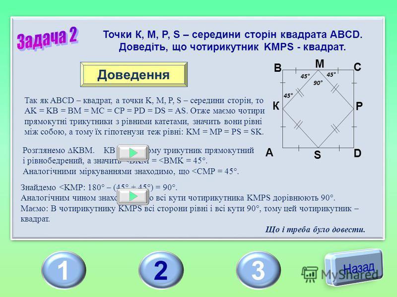 123 Точки К, М, P, S – середини сторін квадрата ABCD. Доведіть, що чотирикутник KMPS - квадрат. Доведення Так як ABCD – квадрат, а точки K, M, P, S – середини сторін, то AK = KB = BM = MC = CP = PD = DS = AS. Отже маємо чотири прямокутні трикутники з
