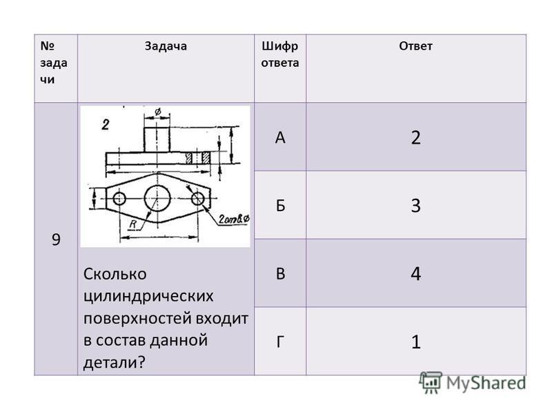 задачи Задача Шифр ответа Ответ 9 Сколько цилиндрических поверхностей входит в состав данной детали? А 2 Б 3 В 4 Г 1