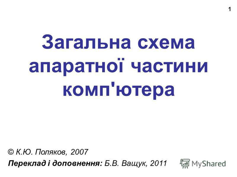 1 Загальна схема апаратної частини комп'ютера © К.Ю. Поляков, 2007 Переклад і доповнення: Б.В. Ващук, 2011