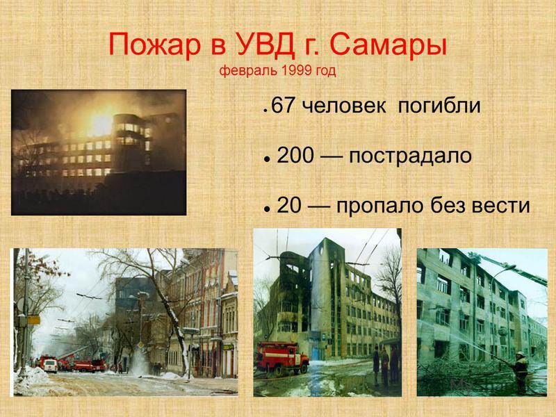 Пожар в УВД г. Самары февраль 1999 год 67 человек погибли 200 пострадало 20 пропало без вести